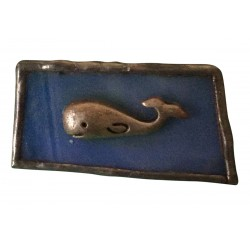 Ceramic and silver whale brooch