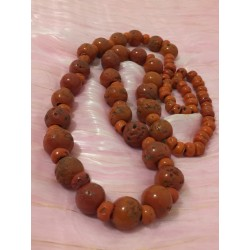 Antique, hand carved, chunky red jasper necklace