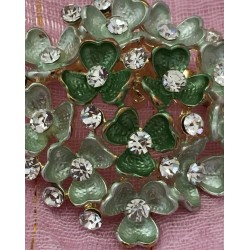 Cloisonné enamel green flowers with crystals brooch