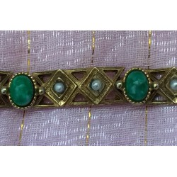 Florenza Victorian revival bracelet with faux jade, faux seeded pearls