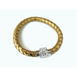 Gold Plaited Leather Look Bangle with Crystal Ball Magnetic clasp