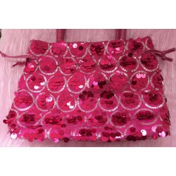 Pink sequinned evening tote bag
