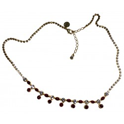 Rhinestone necklace with red stones