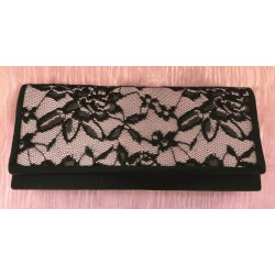 Profile pink and black lace evening clutch bag