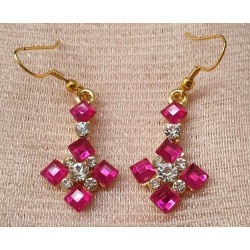 Pink and clear crystal earrings