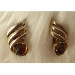 Revle gold tone earrings brown cabochon stones