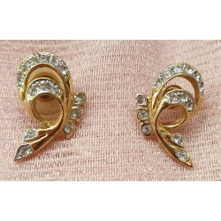 Gold tone crystal earrings