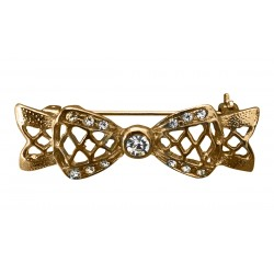 Gold tone bow brooch with crystals