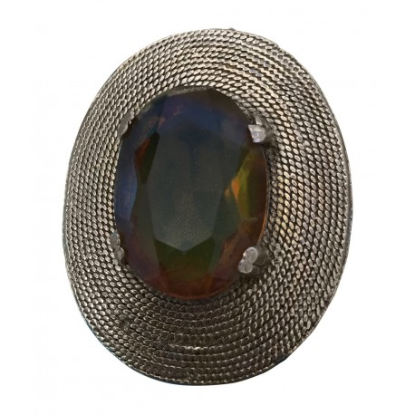 Gold tone brooch with large stone