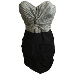 WISH silver and black ruched dress