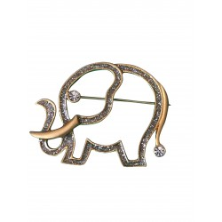 Gold tone crystal elephant brooch