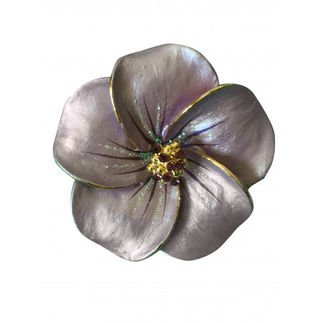 Lilac orchid flower brooch with crystals