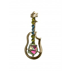Guitar Swarovski crystals brooch