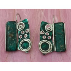 Geometric opalescent green enamel earrings