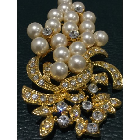 Art Deco revival gold tone faux pearl and crystals brooch