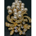 Art Deco revival faux pearl and crystals brooch