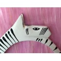Hand painted zebra head bangle
