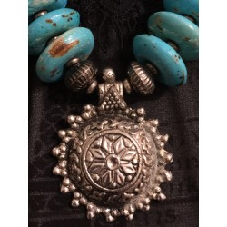 Chunky turquoise, jasper and metal necklace