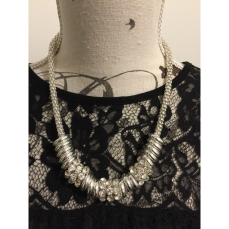 Chunky crystal and metal beaded necklace