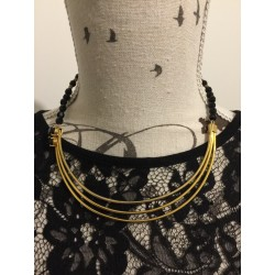 Gold tone cuff necklace black glass beads