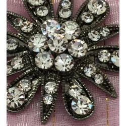 Dark silver brilliant cut paste crystals flower brooch