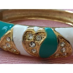 Cloisonné enamel gold tone white and green bracelet wth crystals