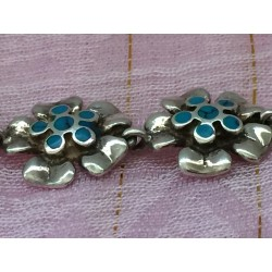 Sterling silver and turquoise daisy flower bracelet