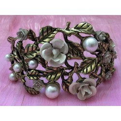 Victorian revival enamel and faux pearl gold tone flower bracelet