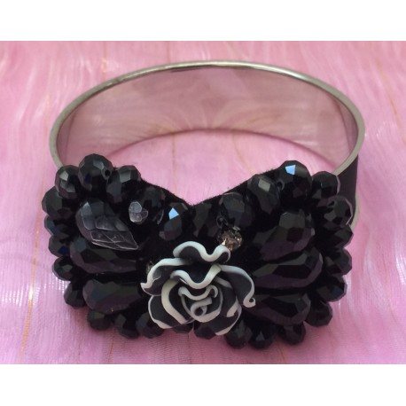 Beaded and crystal bow tie painted flower material silver tone bangle