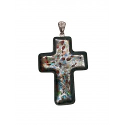 Murano glass and silver cross pendant