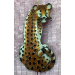 Sterling silver burnished enamelled leopard brooch