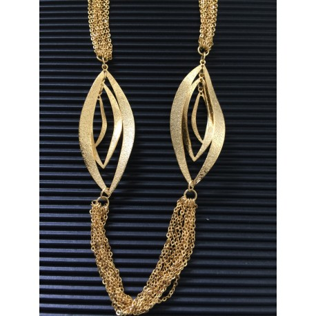 Gold plated long, accented necklace