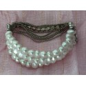 Shell pearl and crystal bracelet