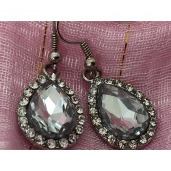 Large crystal faceted earrings