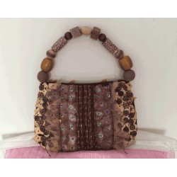 Handmade shell and wood handbag