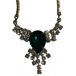 Green stone with rhinestones necklet