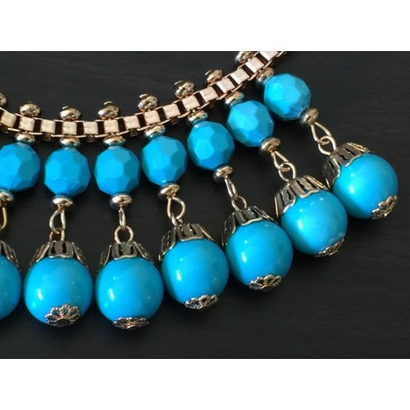 Blue beaded Grecian revival necklace