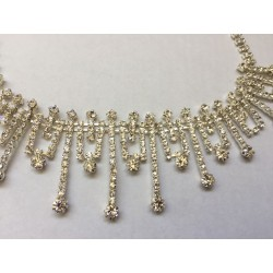 Art deco revival crystal angular necklace