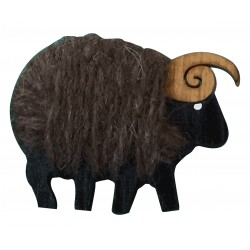 Felted wool and wood ram brooch