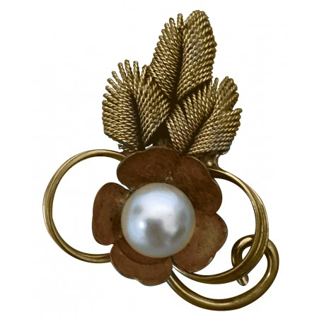 Gold tone pearl art deco brooch