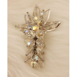 Aurora borealis crystal grape brooch