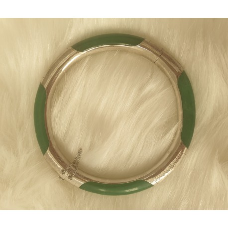 Jade and 925 silver bangle