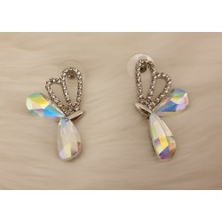 Crystal silver tone butterfly earrings