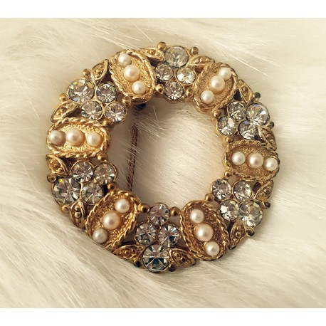 Crystal and seeded pearl wreath brooch