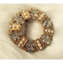 Crystal and pearl wreath brooch