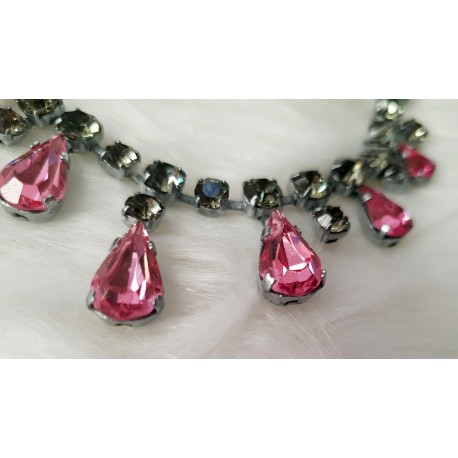 Pink crystal rhinestone necklace