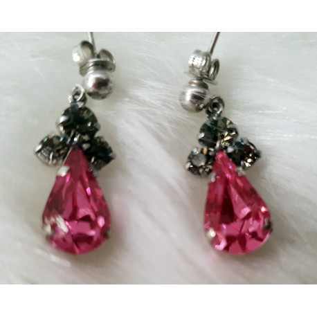 Pink crystal and rhinestone earrings
