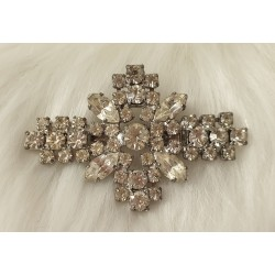 Art deco platinum plated crystals brooch
