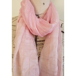 Pink and gold metallic scarf