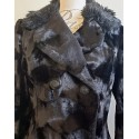 Faux fur luxe black velvet jacket